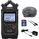 Zoom H4n Pro All Black 4-Track Portable Recorder (2020 Model) with Zoom AD-14 AC Adapter, Windbuster, 16GB Memory Card…