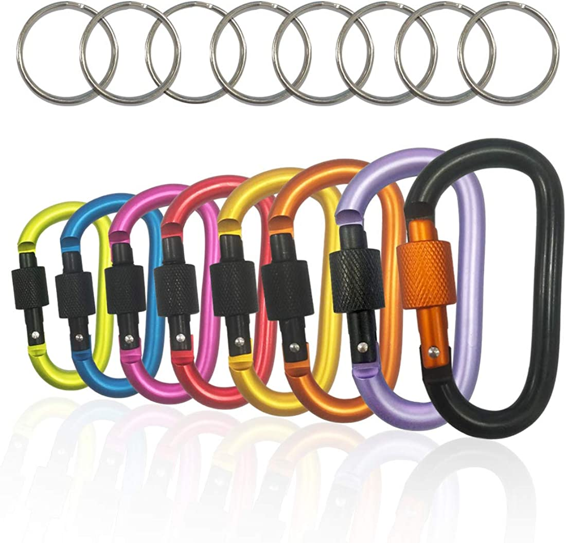"""8PCS Carabiner Caribeaner Clip, 3"""" Aluminum D-Ring Locking Durable Spring Snap KeyChain Hook With 8 PCS Key Chain, For Home, Camping, Hiking, Fishing"""