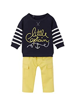 f651060956518 VERTBAUDET Ensemble sweat molleton + pantalon toile bébé garçon Lot encre +  jaune 3M - 60CM