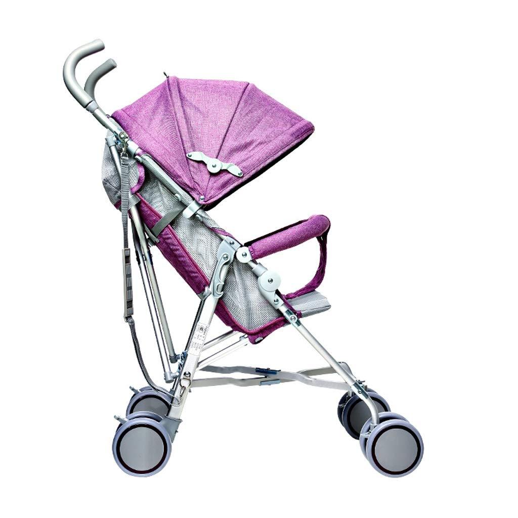 MILU 軽量ベビーカーアルミ合金折りたたみ式ショックアブソーバーベビーカー四季ユニバーサル新生児子供車 (色 : 紫の)  紫の B07QXQT7TY