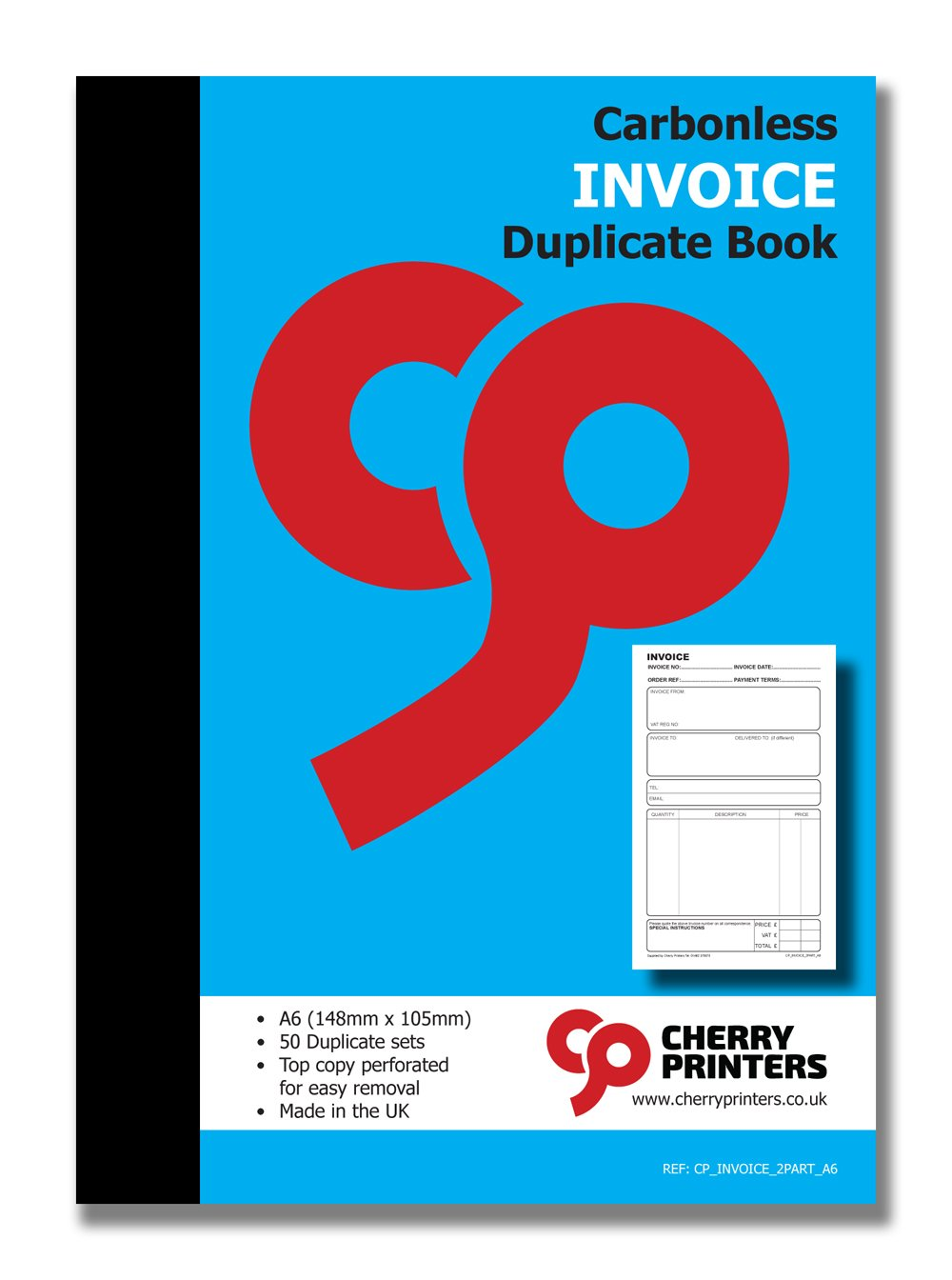 Cherry NCR Invoice Duplicate Books A6 50 Sets Small//Pocket Size