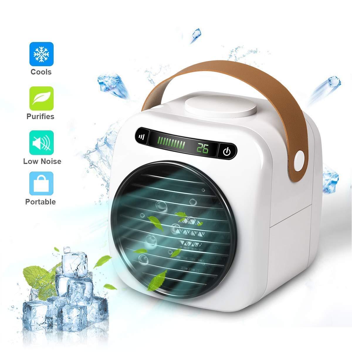 Pers/önlicher Mini Klimager/äte USB Tragbar Luftk/ühler Ventilator Luftbefeuchter und Luftreiniger mit 3 Geschwindigkeiten LED Digitalanzeige f/üR Home Office Draussen 4 In 1 Mobile Klimaanlage