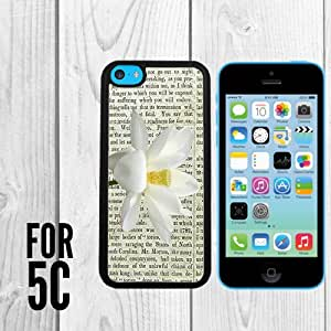 Beautiful Lotus on a newspaper Custom made Case/Cover/skin FOR Apple iPhone 5c - Black - Rubber Case