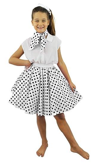 I LOVE FANCY DRESS LTD Falda Corta Blanca con Puntos Negros ...
