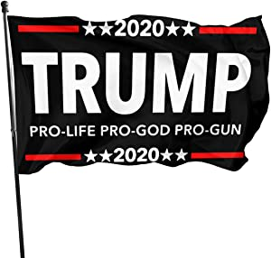 Trump 2020 Pro Life Pro God Pro Gun with American Flag Banner Breeze Flag Outdoor Flags Home Flag 3' X 5' Ft