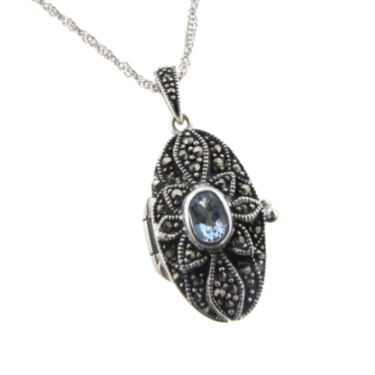 925 Sterling Silver Antiqued Hearts in Oval Marcasite Pendant