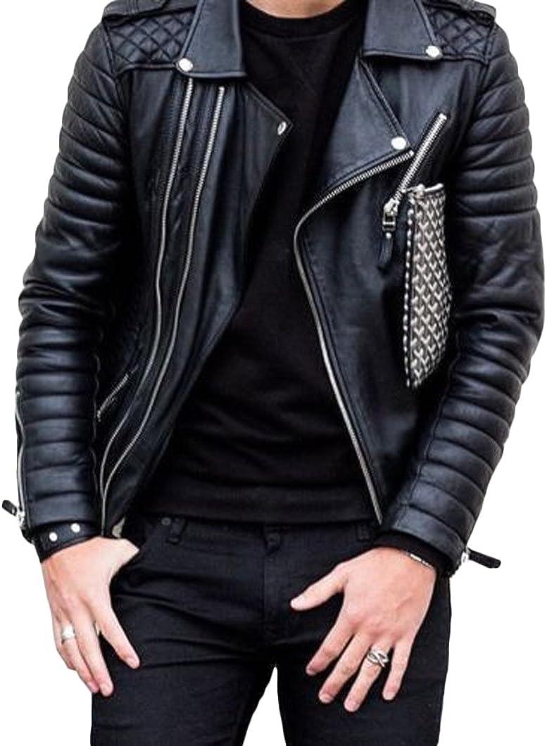 New Men Designer Genuine Lambskin Soft Biker Leather Jacket T1014