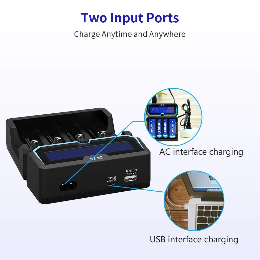 XTAR X4 2A Fast AC Power Battery Charger 2 input ports with USB Output Function for 3.6V//3.7V 14500 16340 18650 20700 21700 26650 1.2V AAAA AA A SC C