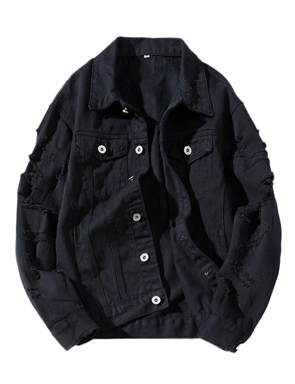 ZLSLZ Womens Girls Cute Solid Distressed Ripped Long Sleeve Denim Jean Jacket Coat Plus Size Black US L