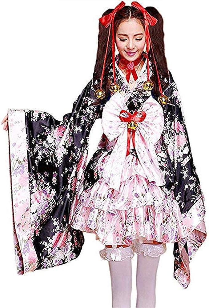 AJSYPD Japanese Cherry Blossoms Pattern Kimono Anime Cosplay Lolita Halloween Fancy Dress Costume