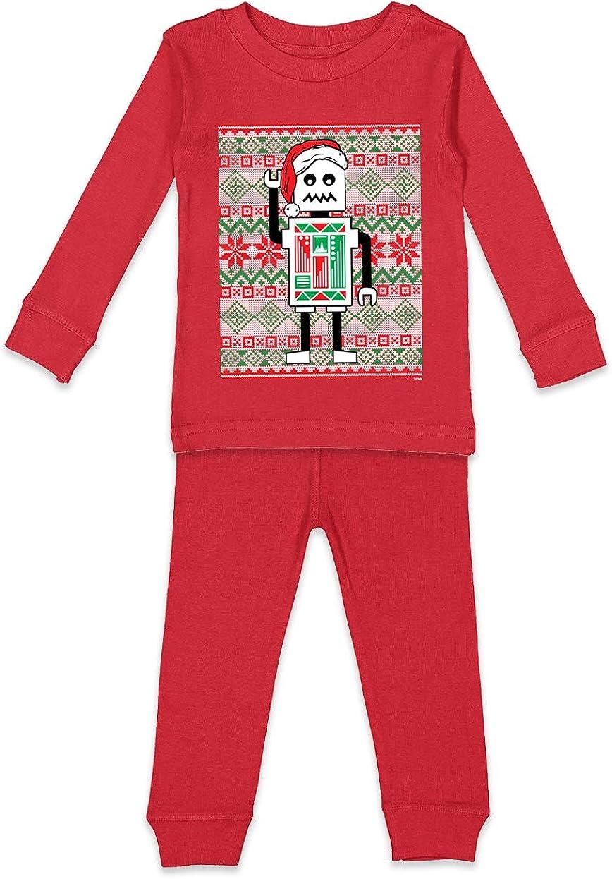 Tcombo Robot Santa Ugly Christmas Sweater Kids Pajama Set