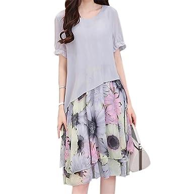 71b853e063e02 EASONDDD ワンピース 花柄 レディース シフォン チュニック 半袖 フレア ドレス シルエット 膝丈 Aライン 体型