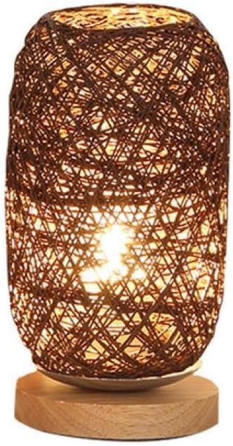 Lámparas de mesa de hilo de ratán de madera tejidas a mano Dormitorio Biblioteca de boda Usb Luz de noche LED Luces de decoración para el hogar de Navidad Regalos creativos en