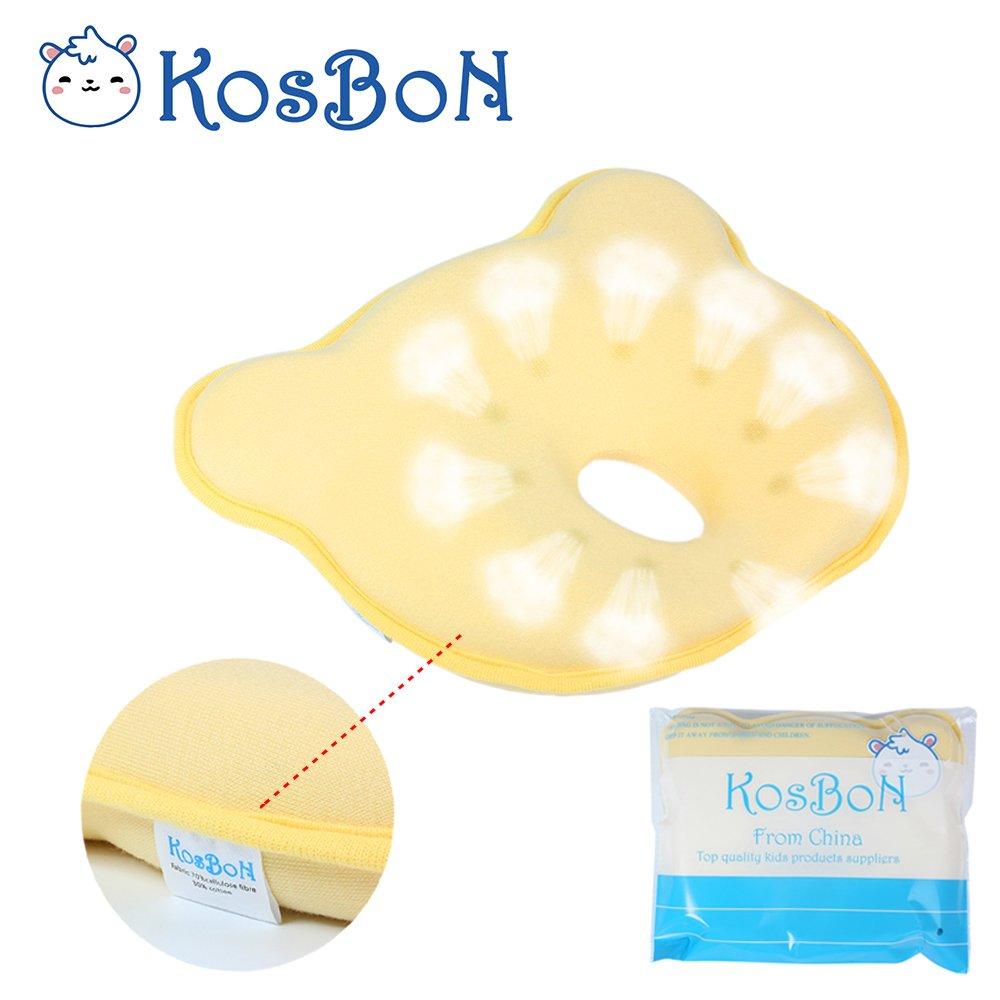forma de oso KOSBON Amarillo almohadilla respirador cabeza Posicionador beb/é . espuma de memoria suave Prevenir cabeza de cabeza plana almohada reci/én nacido