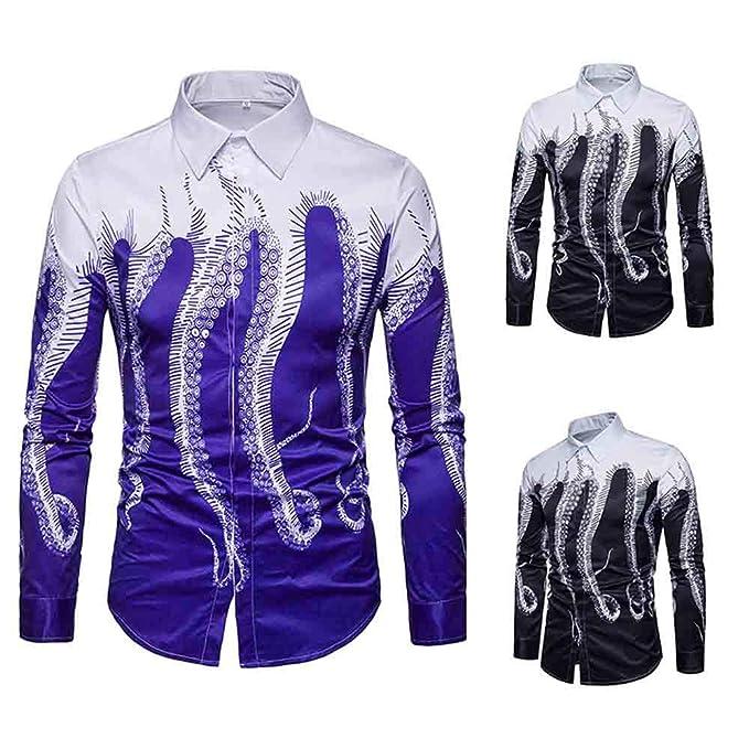 Islandse❤Mens 3D Printed Octopus Shirt Casual Long Sleeve Slim Fit Tops Button