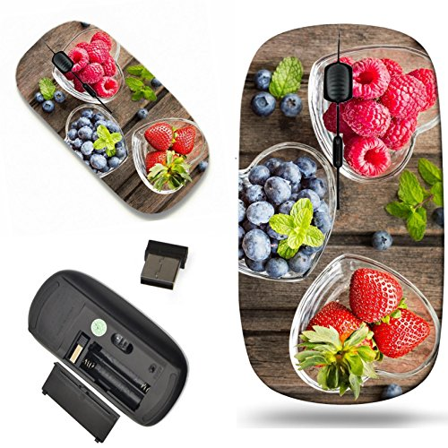 Luxlady Wireless Mouse Travel 2.4G Wireless Mice with USB Receiver, 1000 DPI for notebook, pc, laptop, mac design IMAGE ID: 41294551 Mix of fresh berries in three glass ramekins in shape of heart on w ()
