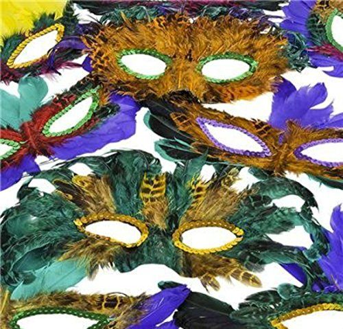 50 Pack of Mardi Gras Masquerade Party Feather Fantasy Masks in Assorted Colors