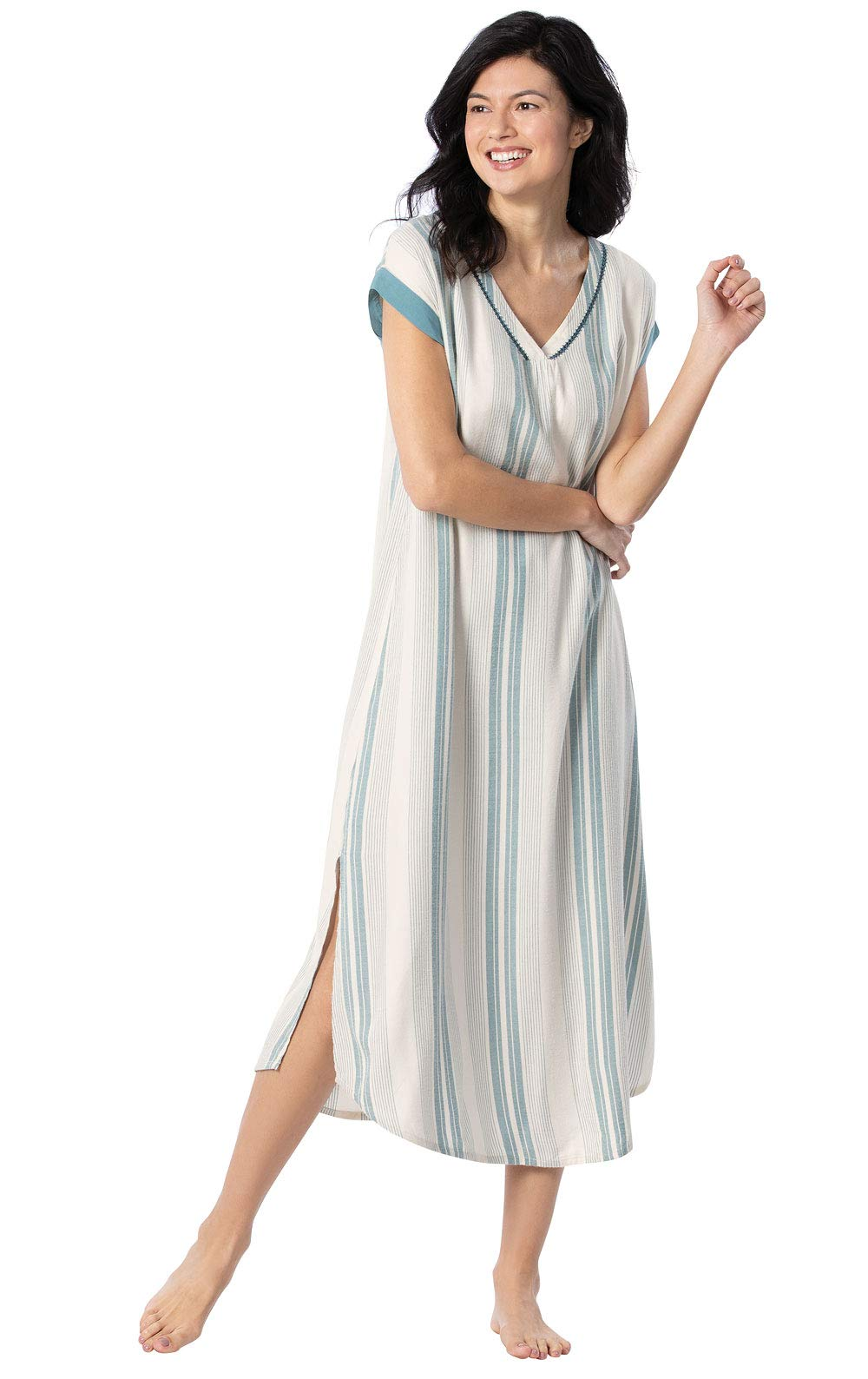 Margaritaville Womens Nightgowns by PajamaGram - Blue and White Stripe, M, 8-10 by PajamaGram