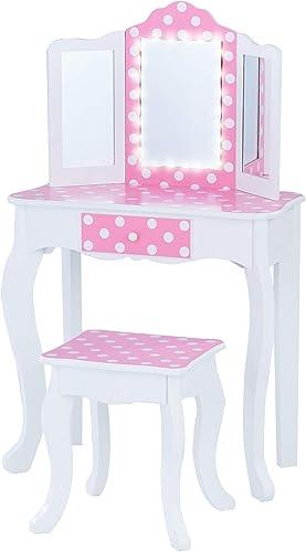Teamson Kids Pretend Play Kids Vanity Table and Chair Vanity Set