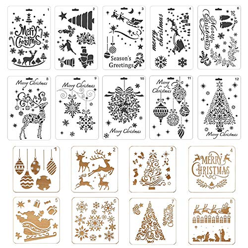 Painting Drawing Stencils Journal Template Reusable Plastic Craft Stencils Santa Claus Christmas Tree for Gift Card Wood Window Notebook Scrapbook Xmas DIY Decoration ()