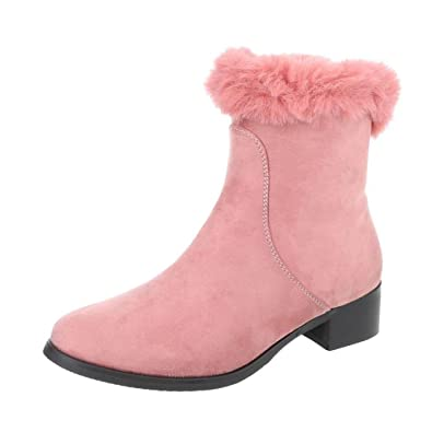 Cingant Woman Damen Stiefelette/Blockabsatz/Halbhohe Stiefel/Damenschuhe/Boots/Pink, EU 37