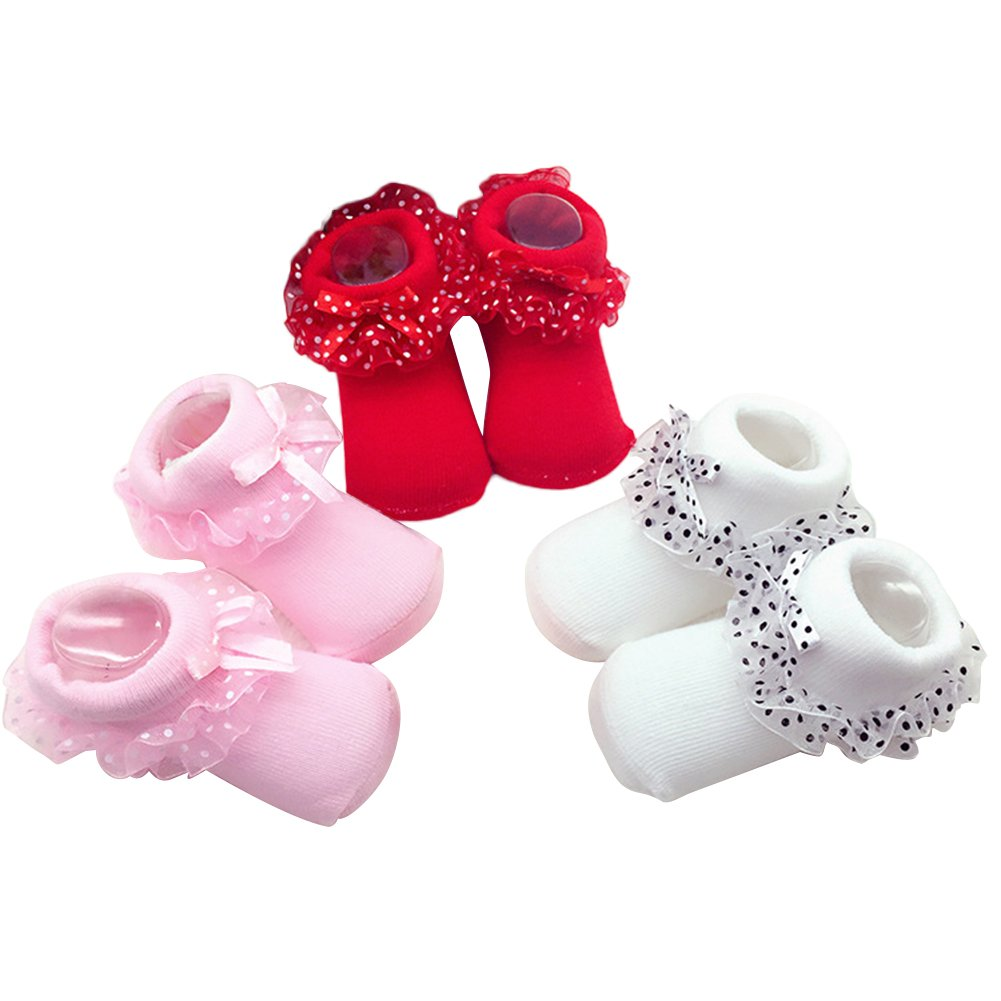 Girl Baby Princess Socks Bowknots Breathable Socks Infants Lace Ankle Socks for 0-6 Months Baby