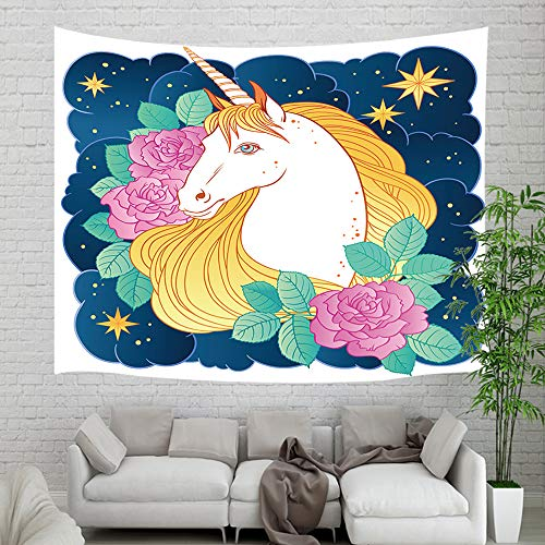 Child's Fairy Tale Animals Wallpaper Tapestry Wall Hanging, Magic Unicorn in Clouds and Roses Flower for Kids Wall Tapestry Art for Home Dorm Decor Living Room Bedroom Bedspread, Wall Blanket, 60X40in ()