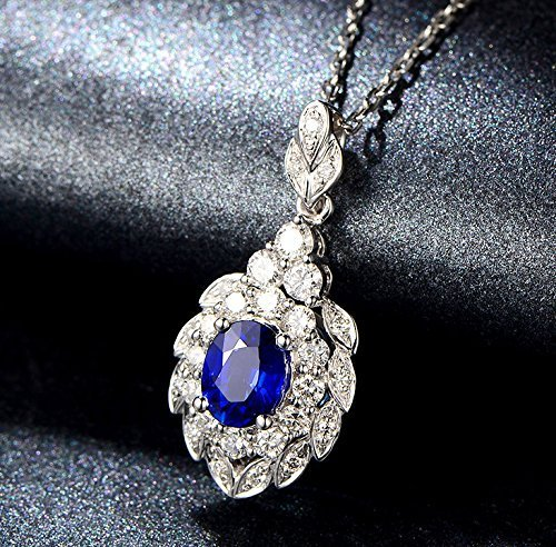- Solid 18k white gold Pendant,0.5ct SI-H Diamond pendant for necklace,1.02ct Oval Natural Blue Sapphire,Pave set