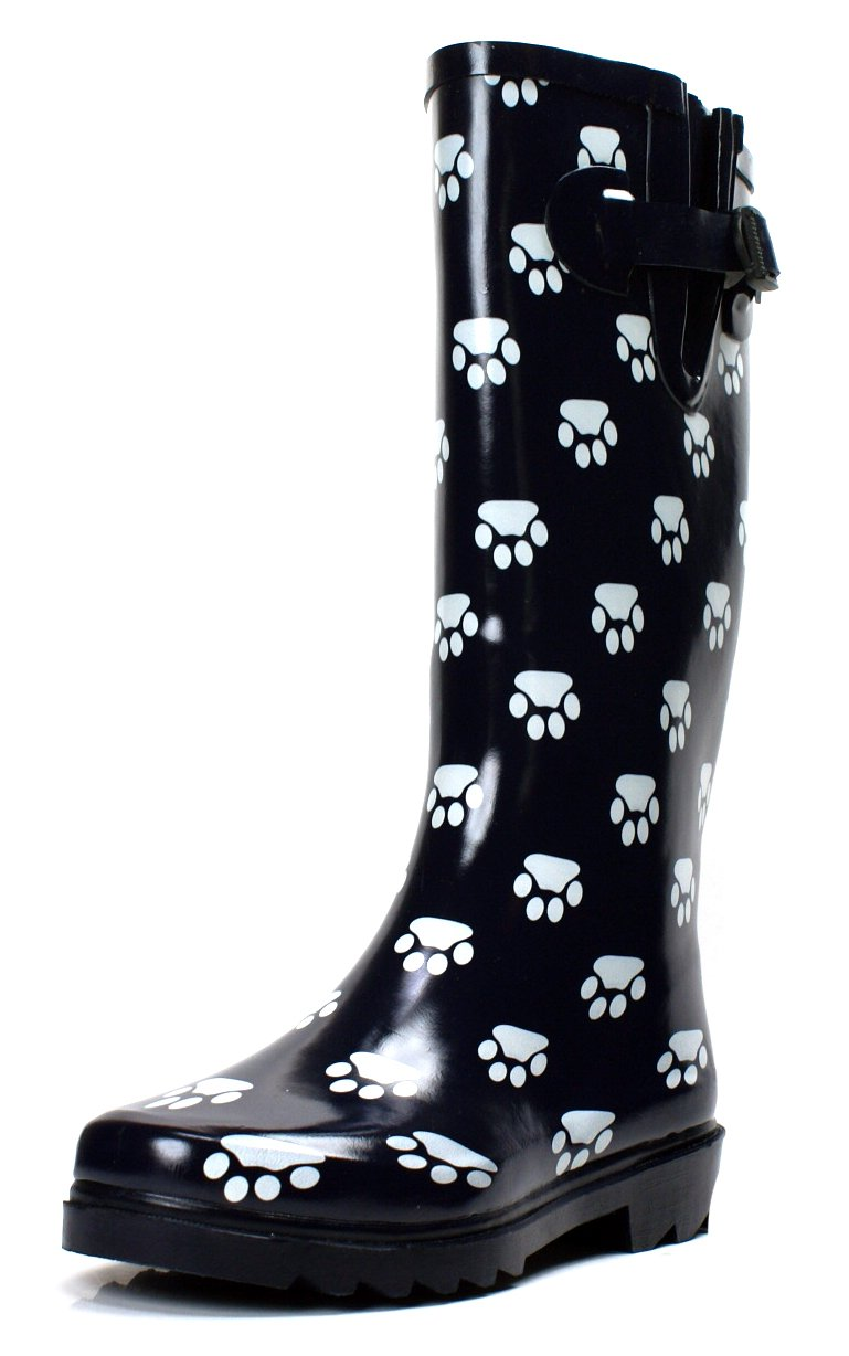 Own Shoe Women's Fashion Rain Boots Multiple Styles Available Waterproof (9, Paw)