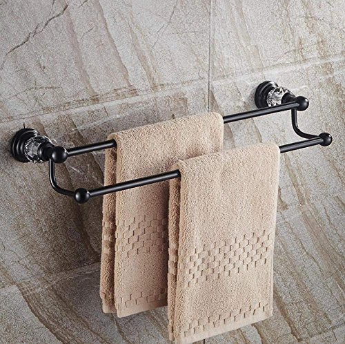 L.I. Door-European, Fixed to The Wall Bathroom Double Dry-Towels Stalk Black Handlebar Absorbent Material