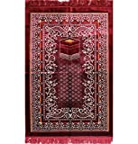 Modefa Free Prayer Cap & Beads, Islamic Prayer Rug Janamaz - Plush Velvet Wide (Red)