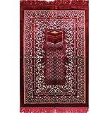 Modefa Free Prayer Cap & Beads, Islamic Prayer Rug Janamaz – Plush Velvet Wide (Red) Review