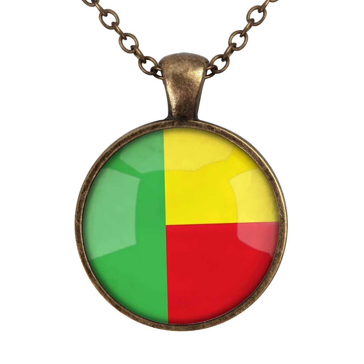 Family Decor The Republic of Benin National Flag Pendant Necklace Cabochon Glass Vintage Bronze Chain Necklace Jewelry Handmade