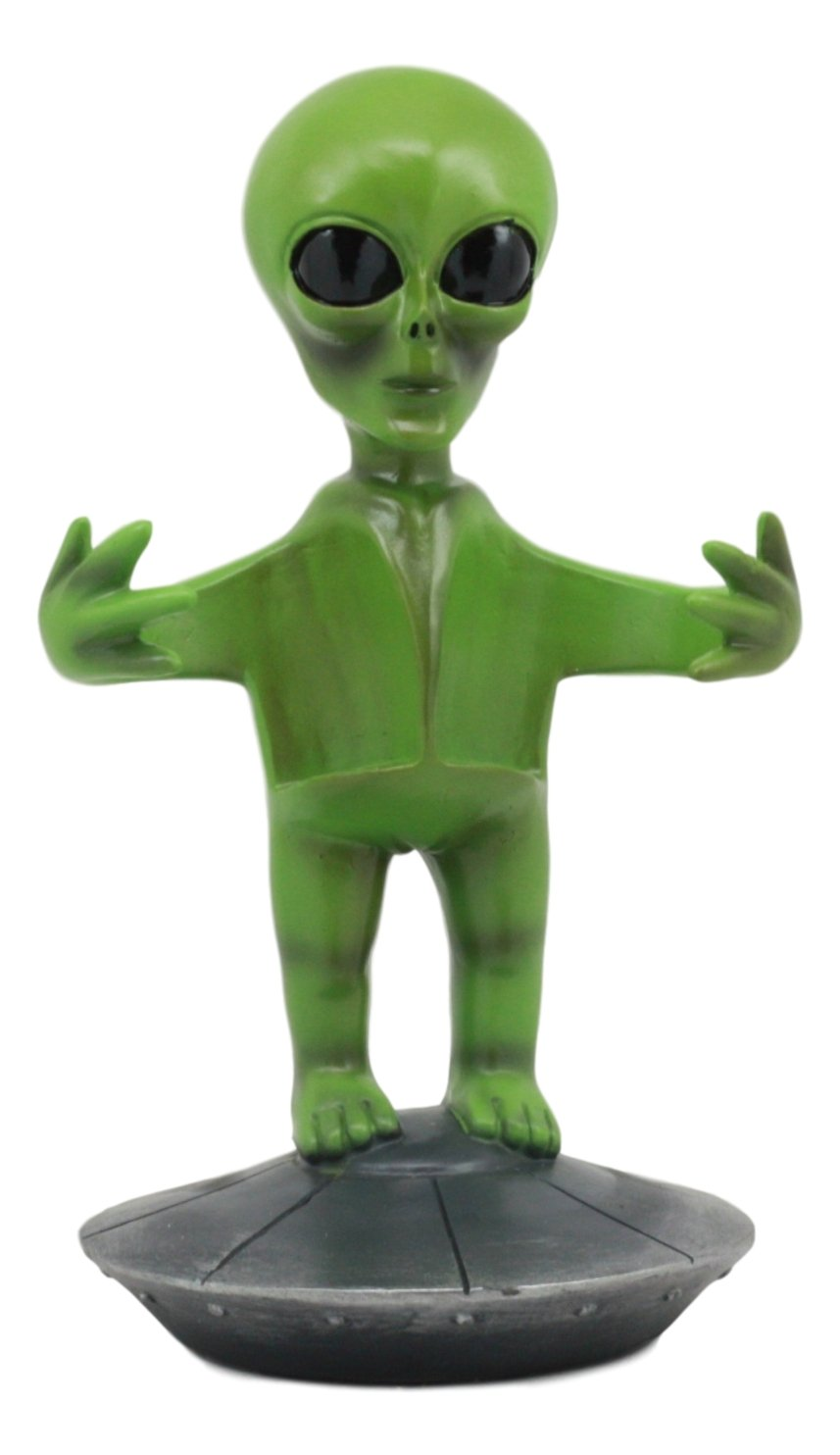 Ebros UFO Outer Space Colony Extra Terrestrial Green Roswell Alien On Flying Saucer Spaceship Salt And Pepper Shakers Holder Statue 7Tall For Kitchen Decor Event Hosting Chef Hobbyist Ebros Gift