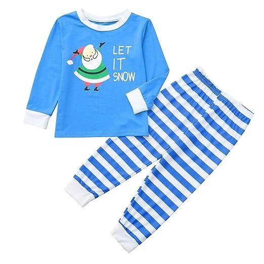 ff02faf8c1 FEDULK Matching Christmas Family Pajamas Santa Claus Print Nightwear  Homewear Kids Pjs Sets(Blue2