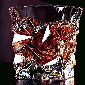 Prime Malik Digital Diamond Design Crystal Cut Whiskey Glass Set (300 ml) -Pack of 6