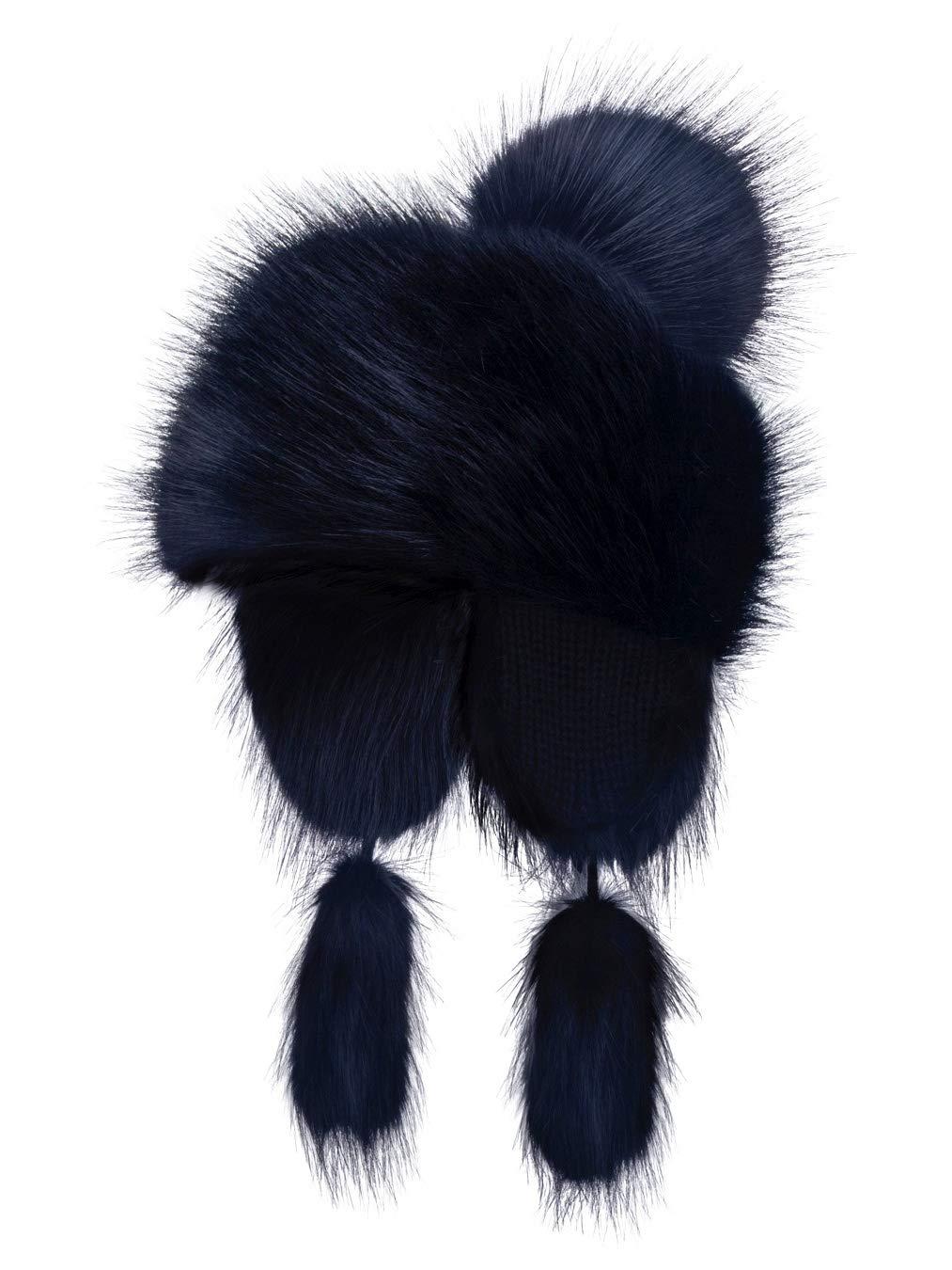 Futrzane Faux Fox Fur Winter Trapper Hat Women Russian Style Pompom (Dark Navy Blue) by Futrzane