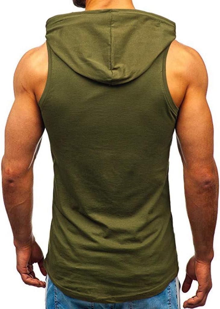Dasongff Herren Sommer Tank Top T-Shirt mit Kapuze Hoodie Aufdruck Print Muster Sport /Ärmellos Shirt Sportweste uze Tank Top mit Kapuze mit Tasche und Kordel Fitness Sport Oberteil Kapuze