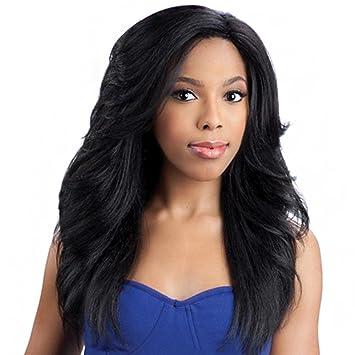 SHKY Pelucas onduladas onduladas de la franja del lado largo del pelo de las nuevas mujeres