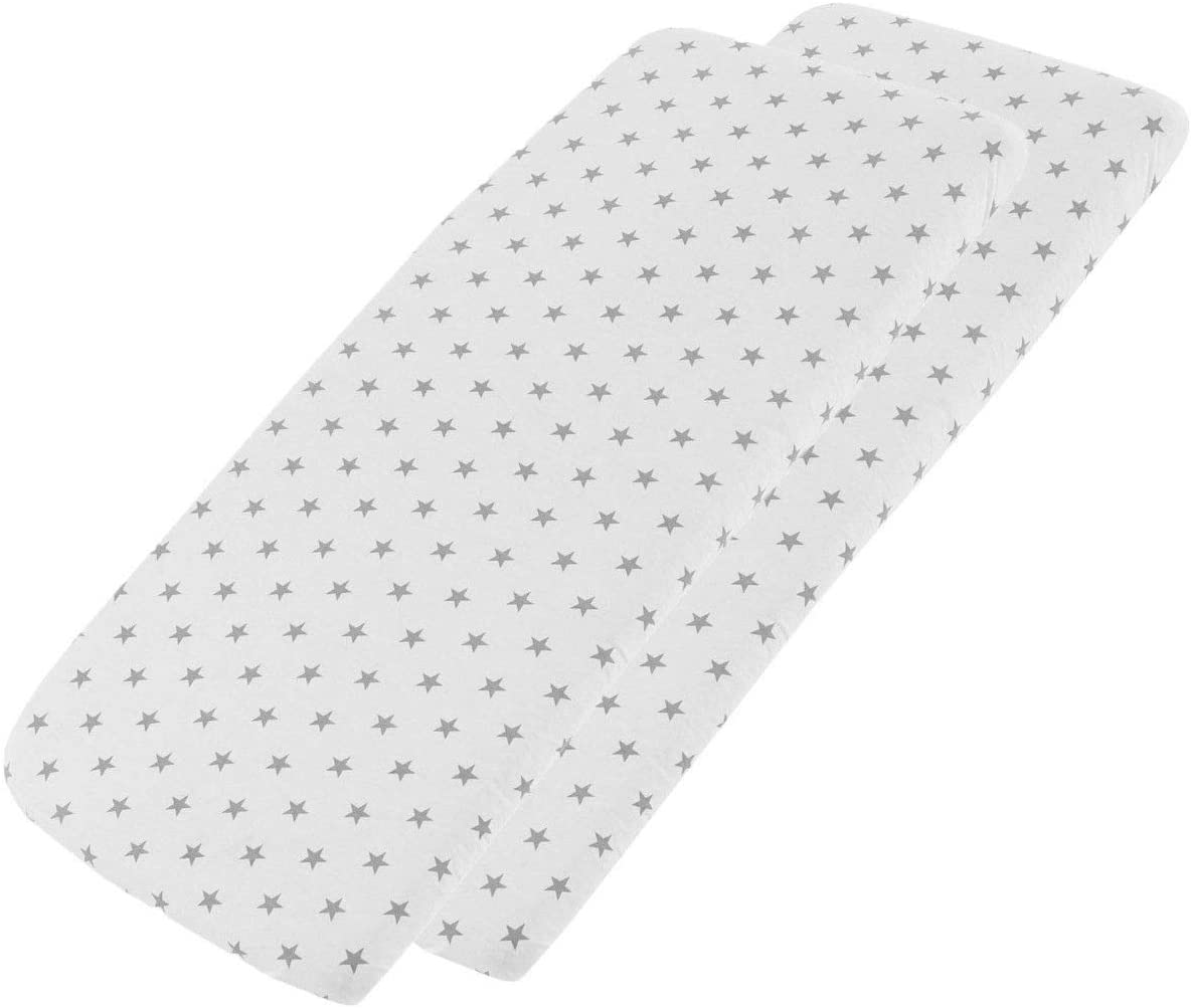 2X Midnight Grey Star FYLO Travel Cot Fitted Sheet 100/% Cotton 95x65cm