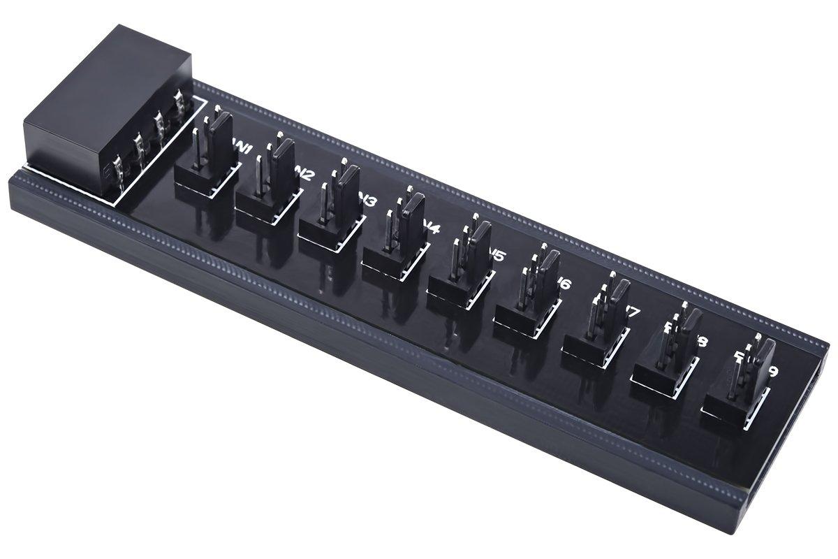 Phobya 1011222 Diviseur de câ bles Noir sé parateur ou commutateur de câ bles - Sé parateurs ou commutateurs de câ bles (Diviseur de câ bles, Noir, 1 x 4-pin Molex, 9 x 3-pin Molex)