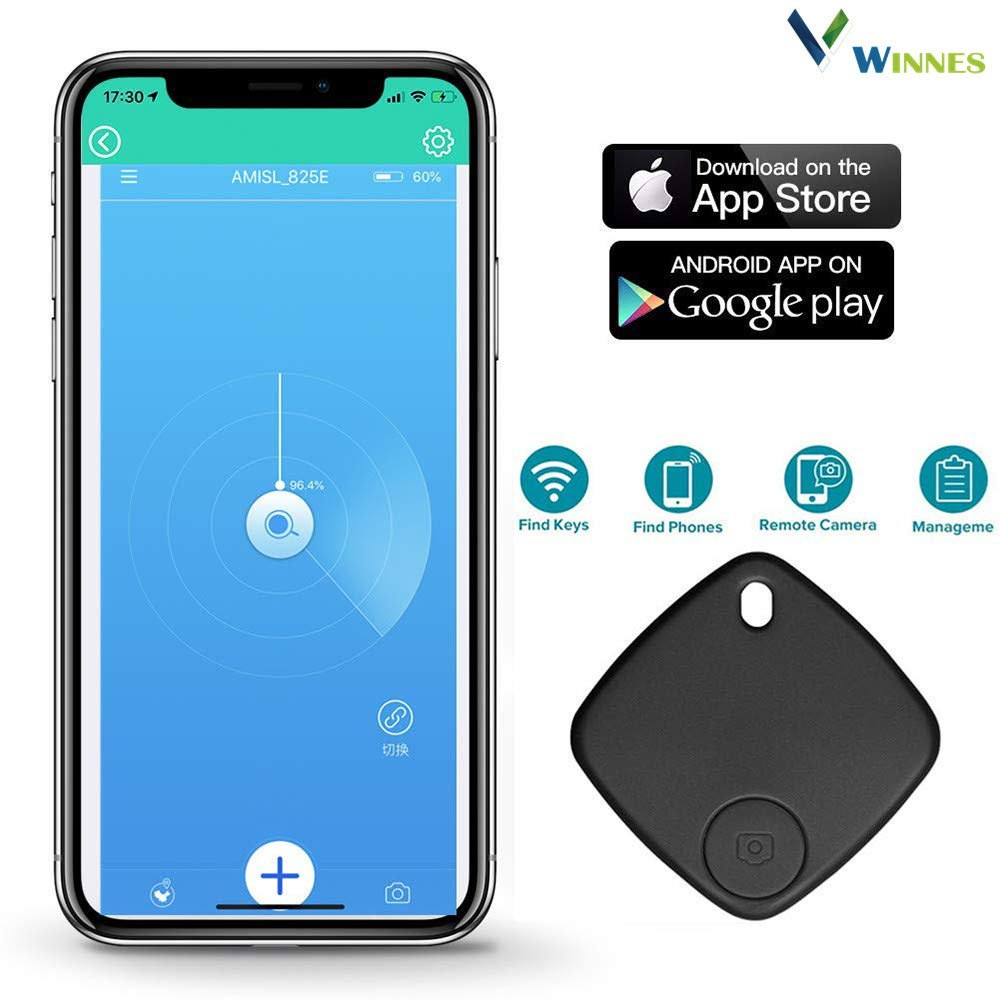 Smart Key Finder Smart Tracker,Winnes Phone Finder Bluetooth Tracker Locator with Anti-Lost Alarm Reminder Wireless Pet Locator App Control for Phone, Car Key, Wallet, Backpack, Luggage by Winnes