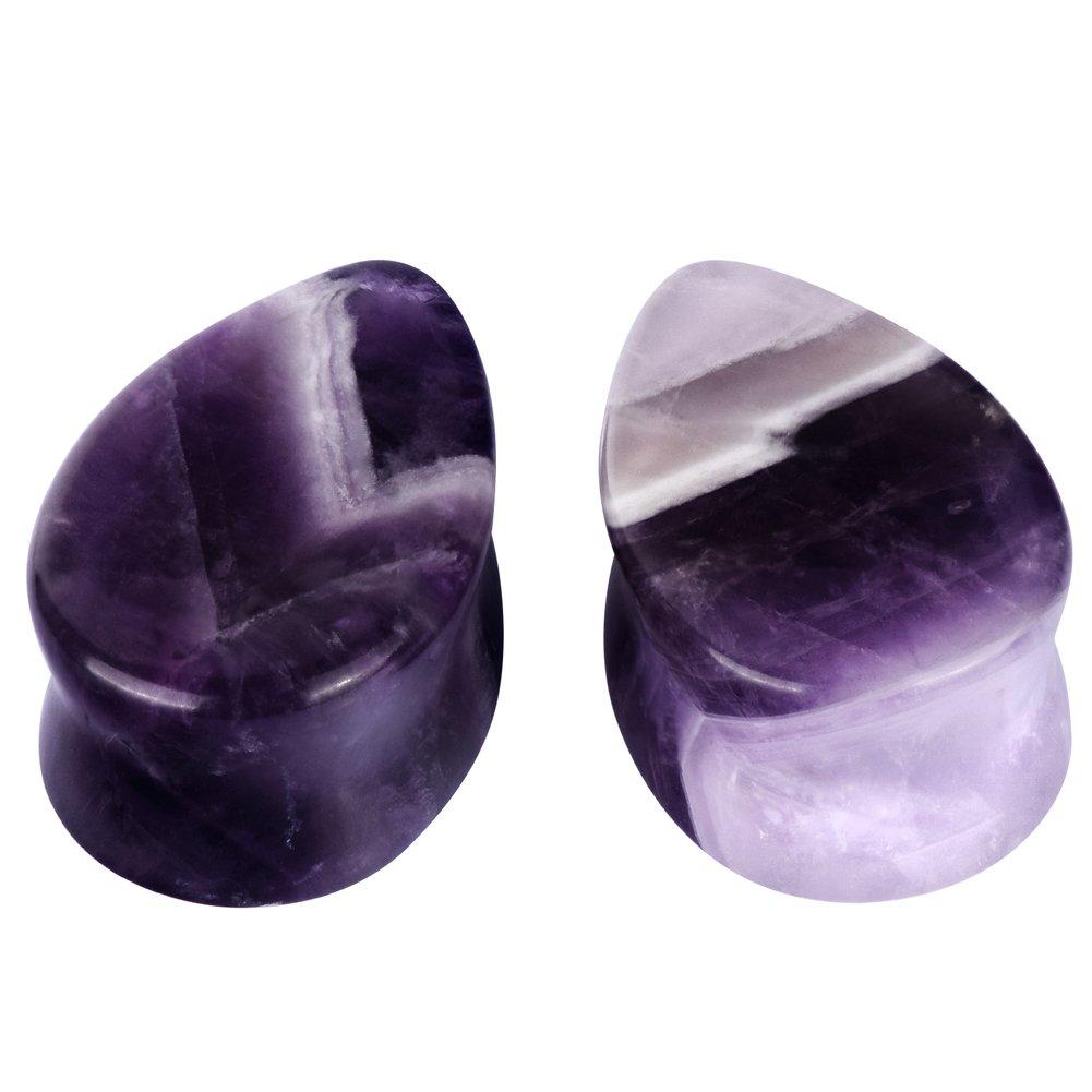 D&M Jewelry 2pcs 00g Organic Stone Teardrop Tunnels Plugs Ear Gauges Piercing