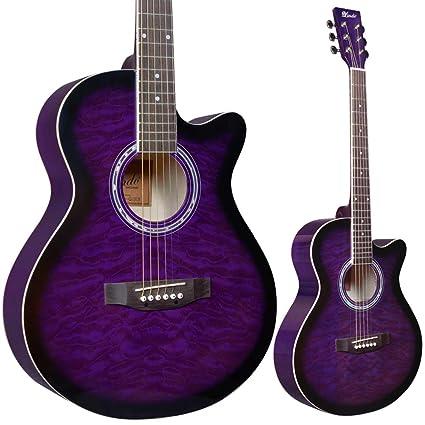Lindo - Guitarra acústica y accesorios estándar (amatista, color morado, incluye bolsa,