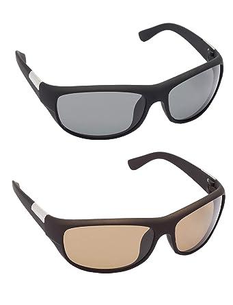 bf84b0bc122 Gansta Wrap-around UV Protected Glass Lenses Sunglasses Combo for Men    Women (GN11137-Blk-Blk-Brn