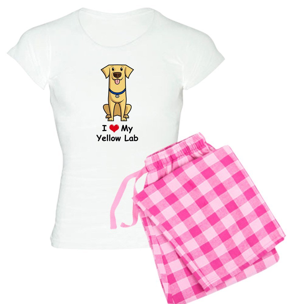 CafePress SS/_I-Love-My-Yellow-Lab-Cartoon Womens PJs