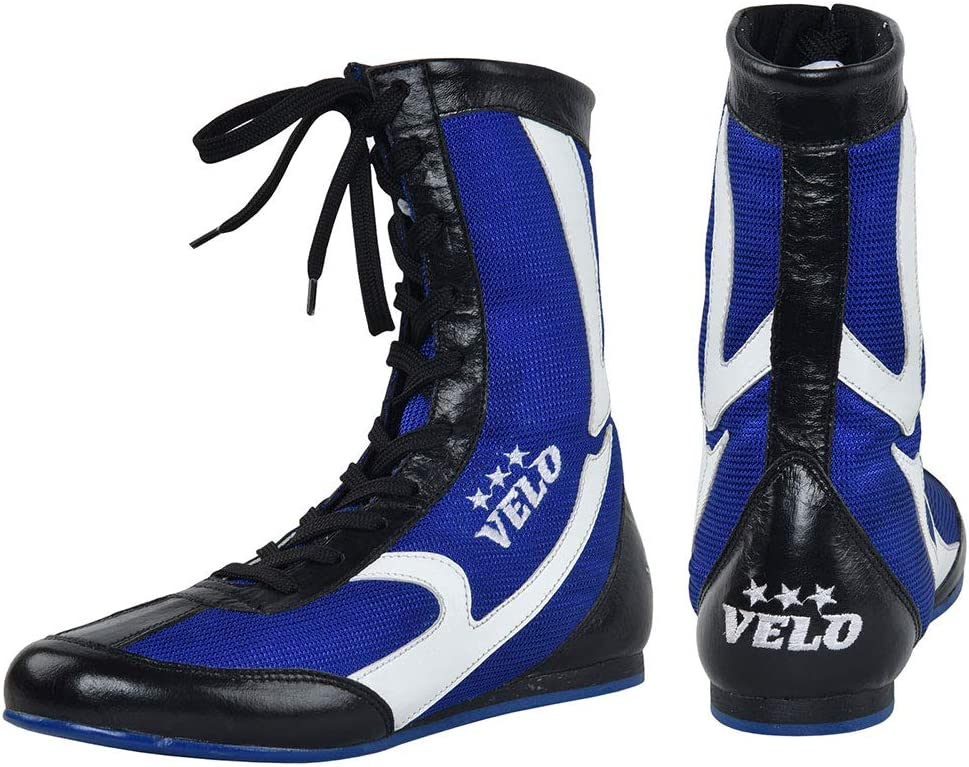 Leather Boxing Shoes Sports Master Training Mesh Unisex Pro Boot Light Weight VELO
