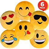 ArtCreativity Assorted Round Emoji Pillows - Pack of 6 - Yellow Smile Face Cushions, Soft Stuffed Emoji Decorations…