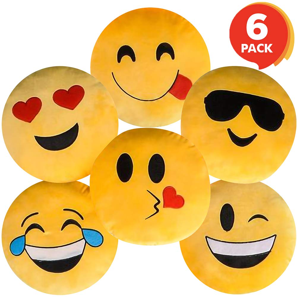 ArtCreativity Assorted Round Emoji Pillows - Pack of 6 - Yellow Smiley Face Cushions, Soft Stuffed Emoji Decorations, Cute Living Room Bedroom Décor, Emoji Birthday Party Favors for Kids and Adults