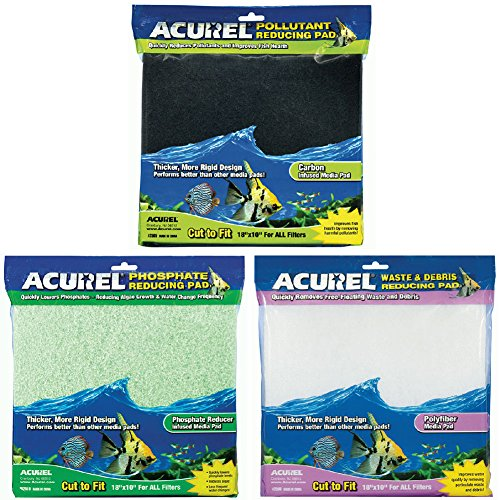 Acurel Infused Media Pads Variety Pack for Aquariums and Ponds (18 in. x 10 in.) - Debris Reducing, Carbon Reducing, and Phosphate Reducing (3 (Phosphate Filter Media)
